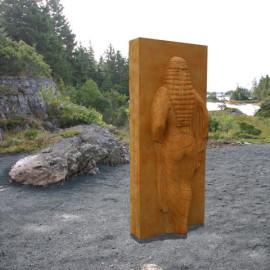 Receding, 2007 by John Greer, Texas Limestone, 7 feet tall / 213cm tall